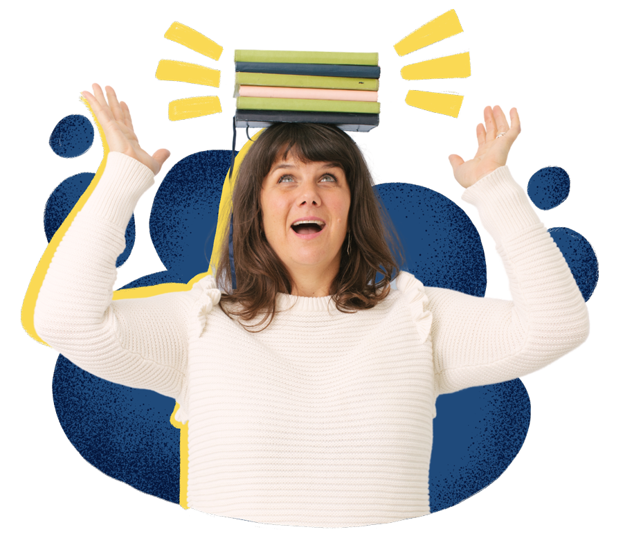 Kate Wallace, Copywriter, balancing a stack of notebooks on her head